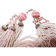 Beaded Necklace 86 Strands Soft Pink Glass Seed Beads