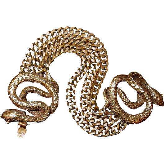 Two Coiled Snakes Gold Filled Chain Bracelet