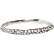 Crystal Oblong Silver-tone Bangle Bracelet Size Large
