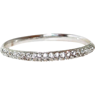 Crystal Oblong Silver-tone Bangle Bracelet Size Large