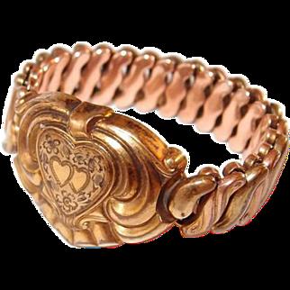 Antique Double Heart Expansion Bracelet Small Size