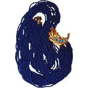 Navy Blue Glass Seed Bead Necklace with Rhinestone Leaf Side Closure