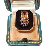 Gold Antique Insect Ring Fluorescent Blue Diamonds Rubies Garnet on Onyx