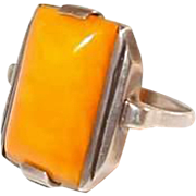 Gents Art Deco Egg Yolk Amber Silver Ring