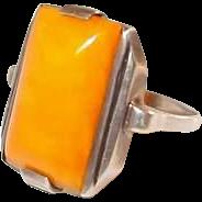 Gents Art Deco Egg Yolk Amber Silver Ring