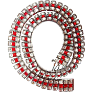 Red Art Deco Square Stone Link Collar Necklace Rhodium