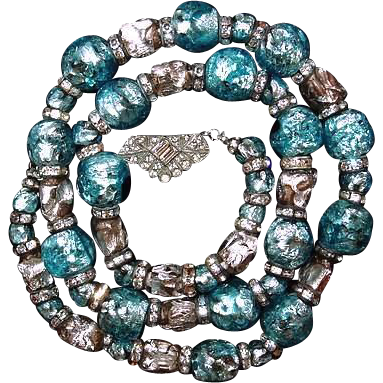 Foiled Glass Gablonz Bead Necklace Turquoise Silver Rondelle Bead Necklace