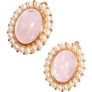 Marvella Clip Earrings Faux Pearl and Pink Cabochon
