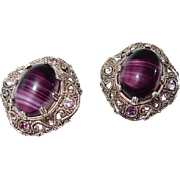 Purple Art Glass Clip Earrings W. German