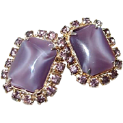 Purple Moonglow and Rhinestone Clip Earrings