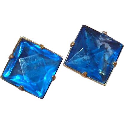 Square Cobalt Blue Sterling Screw-back Earrings