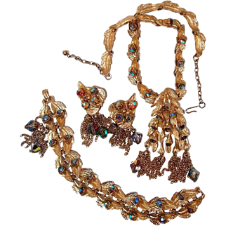Designer Jewelry Suite Leaf Motif Tassels Dark Aurora Borealis Rhinestone Necklace Bracelet Earrings