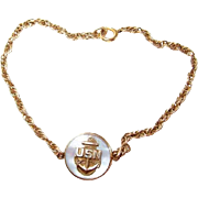 Gold-filled USN Millitaria Navy Sweetheart Bracelet