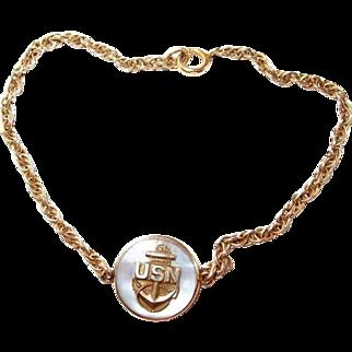 Gold-filled USN Millitaria Navy Sweetheart Bracelet