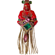 Red Buddha Brooch with Gems and Long Tassel Fringe