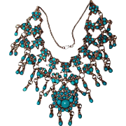 Antique Turquoise Tibet Silver Rare Bib Necklace