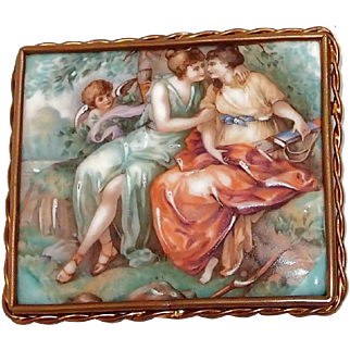 Large French Made Limoges Picture Brooch Porcelaine