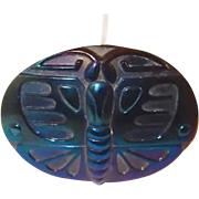 Iridescent Glass Moth or Butterfly Art Nouveau Hat Pin Book Piece