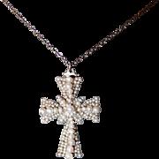 Victoria/Albert Period Seed Pearl Cross Pendant