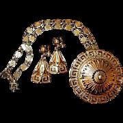 Greek Medallion Pendant Earring Set by Monet