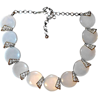 Pearl White Thermoset Necklace with Rhinestones
