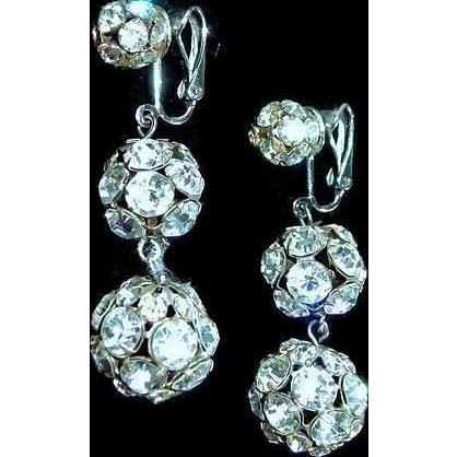 Rare DE for Oscar Charlin Rhinestone Ball Drop Earrings