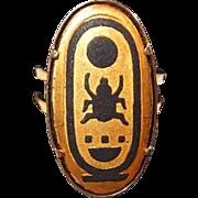 Egyptian Beetle Hieroglyphic Script Ring Damascene Style