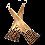 Iridescent Golden Resin Shoulder Duster Designer Post Earrings