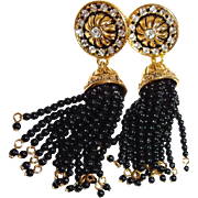 Avon Drop Clip Earrings Black Tassel Simulated Onyx Antique Gold-Tone Rhinestones Book Piece
