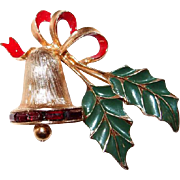 Sarah Cov Enamel Xmas Bell Pin with Red Baguette Stones