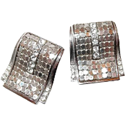 Mesh Buckle Earrings Whiting and Davis Co Silver-Tone Rhinestones