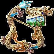 Gold Gilt Enamel Chinese Dragon Pin