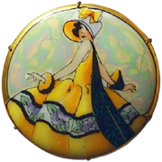 Iridescent Painted Porcelain Lady Brooch