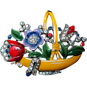 Flower Basket Clip 1940 Trifari by Alfred Philippe Book Piece