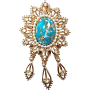 Turquoise Dangle Brooch or Pendant Faux Pearls and Rhinestones