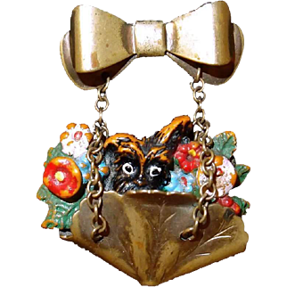 Sweet Flower Basket Pin with Doggie Pocking Out Hangs from Bow