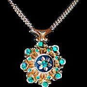 1930s Green Pendant Rhinestone Necklace