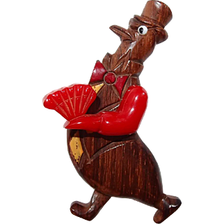 Articulated Wood Bakelite Bird Brooch with Fan - Book Piece