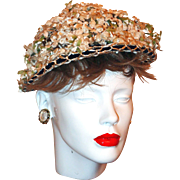 Off-White Velveteen Flower Hat with Navy Velvet Ribbon