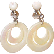Double Hoop Carved Mother of Pearl Screw-back Earrings