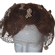Hat Veil Scattered Velvet Ribbons Rhinestone Centers Cancer Survivor Style