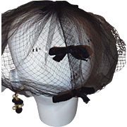 Black Netting Veil Hat with Velvet Bows and Polka Dots
