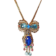 Vintage Blue Crystal Slide Necklace with Filigree Leaves