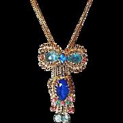 Blue Crystal Slide Necklace with Filigree Leaves