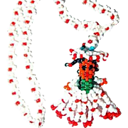American Indian Necklace Glass Seed Beads Girl Figural with Pigtails