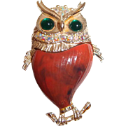Owl Brooch Wide Eyed Green Cabochons Plastic Body