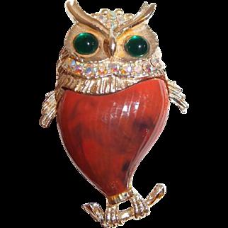 Owl Brooch Wide Eyed Green Cabochons Plastic Body