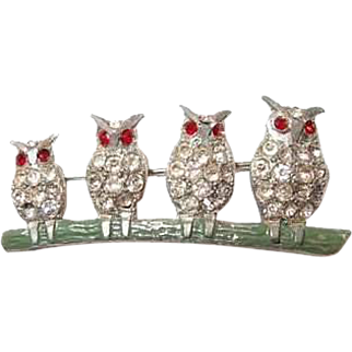 Owl Family Pin Lined up on Branch 1920s Pot Metal