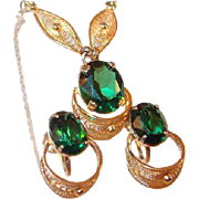 Rare Sorrento Gold Filigree Necklace Earring Set with Emerald Green Topaz