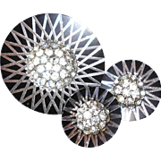 Machine Etched Brooch and Earring Set with Raised Paved Rhinestone Centers